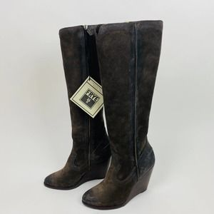 Frye Brown Suede Wedge Tall Leather Boots NWT Cece